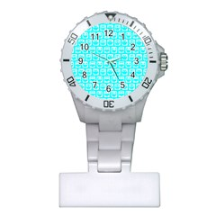 Aqua Turquoise And White Owl Pattern Nurses Watches