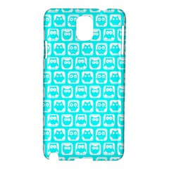 Aqua Turquoise And White Owl Pattern Samsung Galaxy Note 3 N9005 Hardshell Case