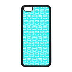 Aqua Turquoise And White Owl Pattern Apple iPhone 5C Seamless Case (Black)