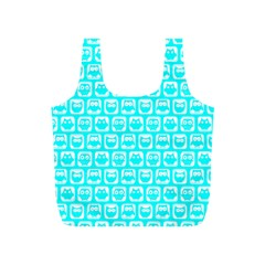 Aqua Turquoise And White Owl Pattern Full Print Recycle Bags (S)