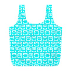 Aqua Turquoise And White Owl Pattern Full Print Recycle Bags (L)