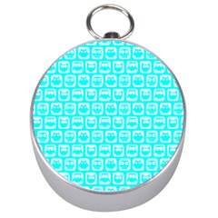 Aqua Turquoise And White Owl Pattern Silver Compasses