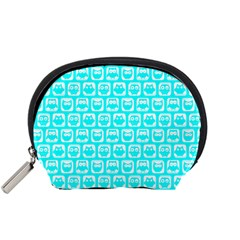Aqua Turquoise And White Owl Pattern Accessory Pouches (small)
