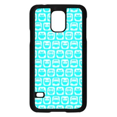 Aqua Turquoise And White Owl Pattern Samsung Galaxy S5 Case (Black)