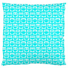 Aqua Turquoise And White Owl Pattern Large Flano Cushion Cases (One Side)