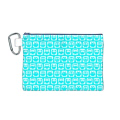 Aqua Turquoise And White Owl Pattern Canvas Cosmetic Bag (M)