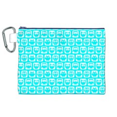 Aqua Turquoise And White Owl Pattern Canvas Cosmetic Bag (XL)