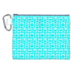 Aqua Turquoise And White Owl Pattern Canvas Cosmetic Bag (xxl)