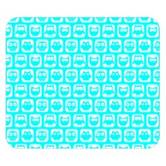 Aqua Turquoise And White Owl Pattern Double Sided Flano Blanket (Small)