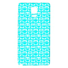 Aqua Turquoise And White Owl Pattern Galaxy Note 4 Back Case