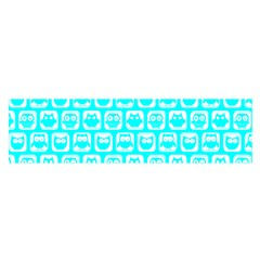 Aqua Turquoise And White Owl Pattern Satin Scarf (oblong)