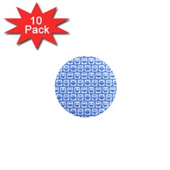 Blue And White Owl Pattern 1  Mini Magnet (10 pack)