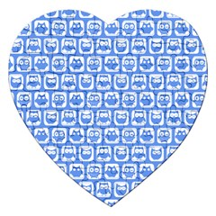 Blue And White Owl Pattern Jigsaw Puzzle (Heart)