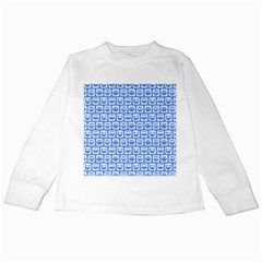 Blue And White Owl Pattern Kids Long Sleeve T Shirts