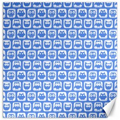 Blue And White Owl Pattern Canvas 12  x 12