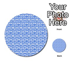 Blue And White Owl Pattern Multi Purpose Cards (round)