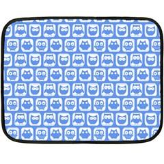Blue And White Owl Pattern Fleece Blanket (Mini)
