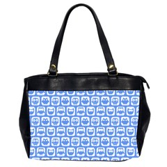 Blue And White Owl Pattern Office Handbags (2 Sides)