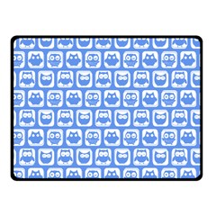 Blue And White Owl Pattern Fleece Blanket (small)