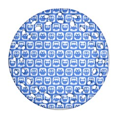 Blue And White Owl Pattern Round Filigree Ornament (2side)