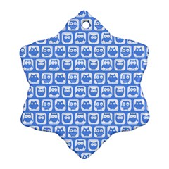 Blue And White Owl Pattern Snowflake Ornament (2-Side)
