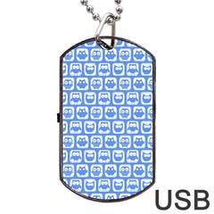 Blue And White Owl Pattern Dog Tag USB Flash (One Side)