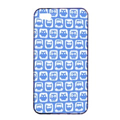Blue And White Owl Pattern Apple iPhone 4/4s Seamless Case (Black)