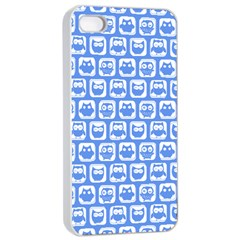 Blue And White Owl Pattern Apple iPhone 4/4s Seamless Case (White)