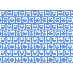 Blue And White Owl Pattern Birthday Cake 3d Greeting Card (7x5)