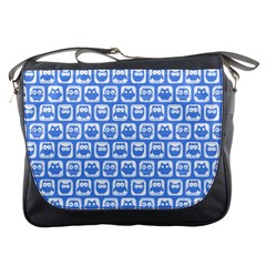 Blue And White Owl Pattern Messenger Bags