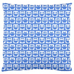 Blue And White Owl Pattern Large Cushion Cases (One Side)