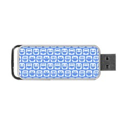 Blue And White Owl Pattern Portable USB Flash (One Side)