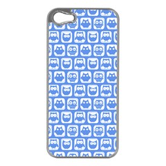 Blue And White Owl Pattern Apple iPhone 5 Case (Silver)