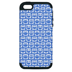 Blue And White Owl Pattern Apple iPhone 5 Hardshell Case (PC+Silicone)