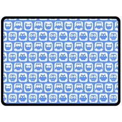Blue And White Owl Pattern Double Sided Fleece Blanket (Large)