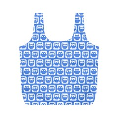 Blue And White Owl Pattern Full Print Recycle Bags (M)