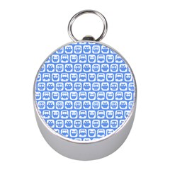 Blue And White Owl Pattern Mini Silver Compasses