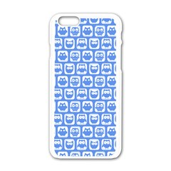 Blue And White Owl Pattern Apple iPhone 6 White Enamel Case