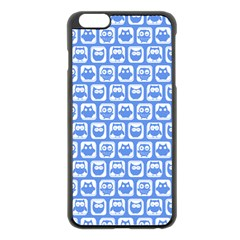 Blue And White Owl Pattern Apple iPhone 6 Plus Black Enamel Case