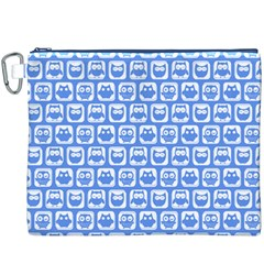 Blue And White Owl Pattern Canvas Cosmetic Bag (XXXL)