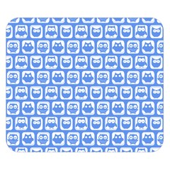 Blue And White Owl Pattern Double Sided Flano Blanket (small)