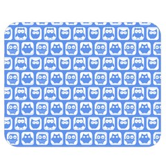 Blue And White Owl Pattern Double Sided Flano Blanket (Medium)
