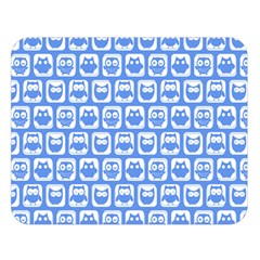 Blue And White Owl Pattern Double Sided Flano Blanket (Large)