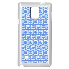 Blue And White Owl Pattern Samsung Galaxy Note 4 Case (White)