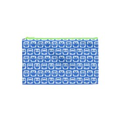 Blue And White Owl Pattern Cosmetic Bag (xs)
