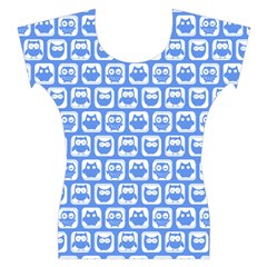 Blue And White Owl Pattern Women s Cap Sleeve Top