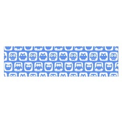Blue And White Owl Pattern Satin Scarf (oblong)