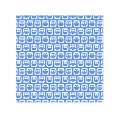 Blue And White Owl Pattern Small Satin Scarf (Square)