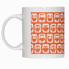 Coral And White Owl Pattern White Mugs