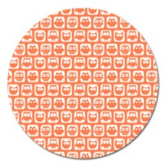 Coral And White Owl Pattern Magnet 5  (Round)
